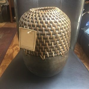 New Accent Rattan Wood Vase/Decor